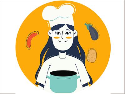 Chef woman chefs instagram stories chef girl character vector ui app design characterdesign design illustrator 2d illustration