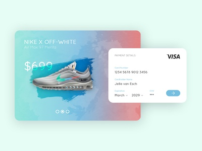 Daily UI #002 - Credit Card Checkout ux design off white visa sneakers nike dailyui002 dailyui daily 100 challenge illustration design branding