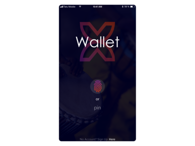 X Wallet Login Screen