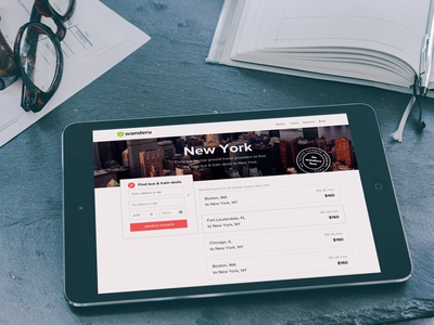 Responsive Landing Page  tablet ipad search new york travel landing page grid minimal clean simple website responsive web