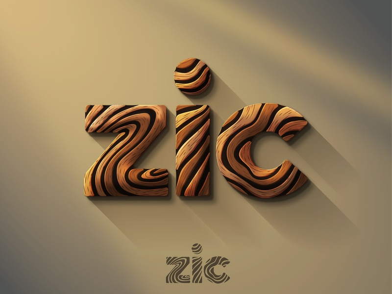 Zic - Logo design natural nature elegant woodwork woods woodworking wood wooden typography lettering icon illustration vector logo design branding illustrator