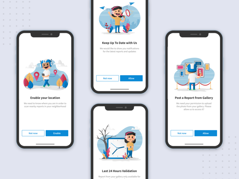 Illustration for User Data Consent — Qlue App consent data permission photo gallery timer notification gps location illustrator flat design drawing mobile app mobile ux ui onboarding animation illustration