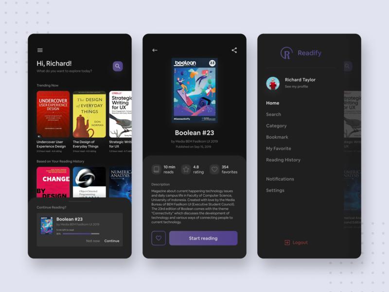 Readify — Dark Mode E-Book App