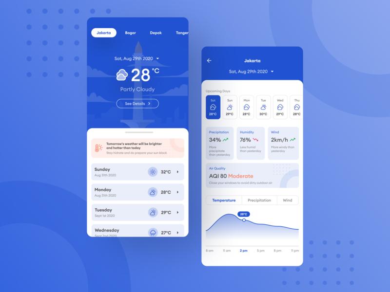 Weather App — Exploration Design mobile app design mobile design ui  ux ui weather forecast temperature cloudy sunny mobile app mobile ui mobile blue weather app weather