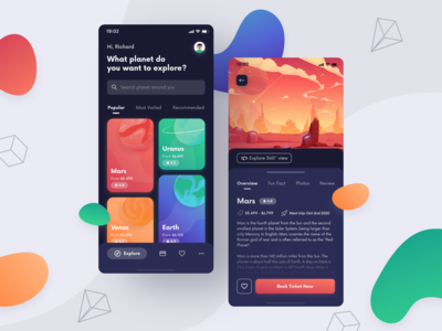 Space Travel App — Exploration Design mobile design travel app travel spaceship mobile navy search bar gradient dark mode dark theme detail page home page exploration explore ticket booking app booking planet mars space