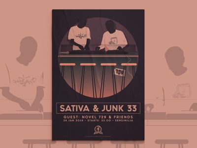 Junk 33 x Sativa | Poster pt.1 balanscape artwork flat minimal character illustration poster poster designer poster design posters poster illustrator illustration design illustration art hip hop event poster graphic design vector illustration design