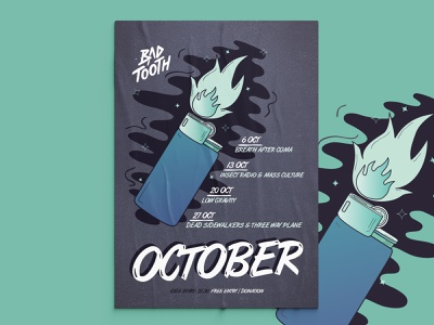 Bad Tooth Poster Collection | pt. 1: October athens bar graphic designer comic vector art freehand illustration poster fire lighter poster collection event poster posters poster design poster illustration design illustration vector design graphic design balanscape