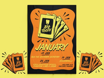 Bad Tooth Poster Collection | pt. 4: January event design event branding events poster collection newyearseve new year newyears aces ace gig posters gig poster event poster posters poster design poster illustration design illustration vector graphic design balanscape
