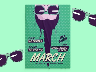 Bad Tooth Poster Collection | pt. 6: March sunglasses events hair girl springtime spring event branding gig posters gig poster poster collection event poster posters poster design poster illustration design illustration design vector graphic design balanscape