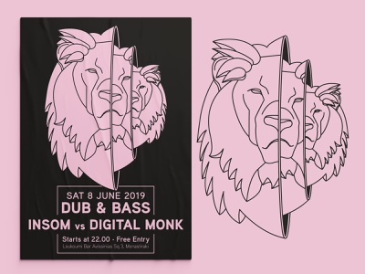 Lion Babushka | Poster minimal design music poster babushka lion minimal poster line art lineart minimalism minimal illustrations event poster posters poster design poster illustration design illustration vector design graphic design balanscape
