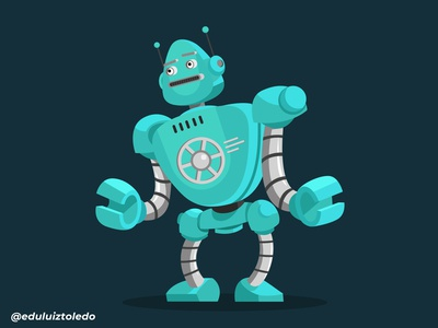 A blue robot, nothing more ...