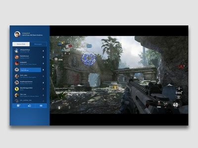 PS4 In-Game Social Widget playstation sony ui design ux design high fidelity interaction design