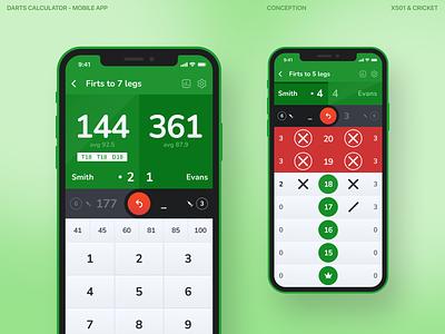 Darts calculator – mobile app ux design minimal typography graphic design ui