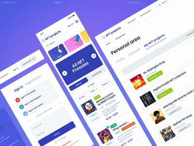 NFT projects typography ux ui minimal design