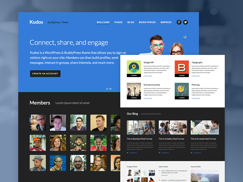 Kudos BuddyPress Theme by Aaron Lynch - Dribbble