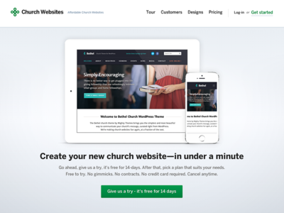 Church CMS Sales Site Homepage