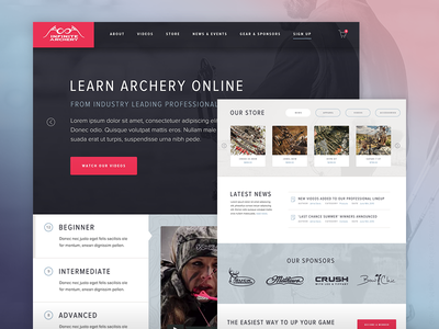Infinite Archery - Learn Archery Online sign up membership video archery visual design interface usability design ux ui