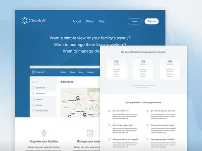 Clearloft Landing Page app visual design interface usability design ux ui