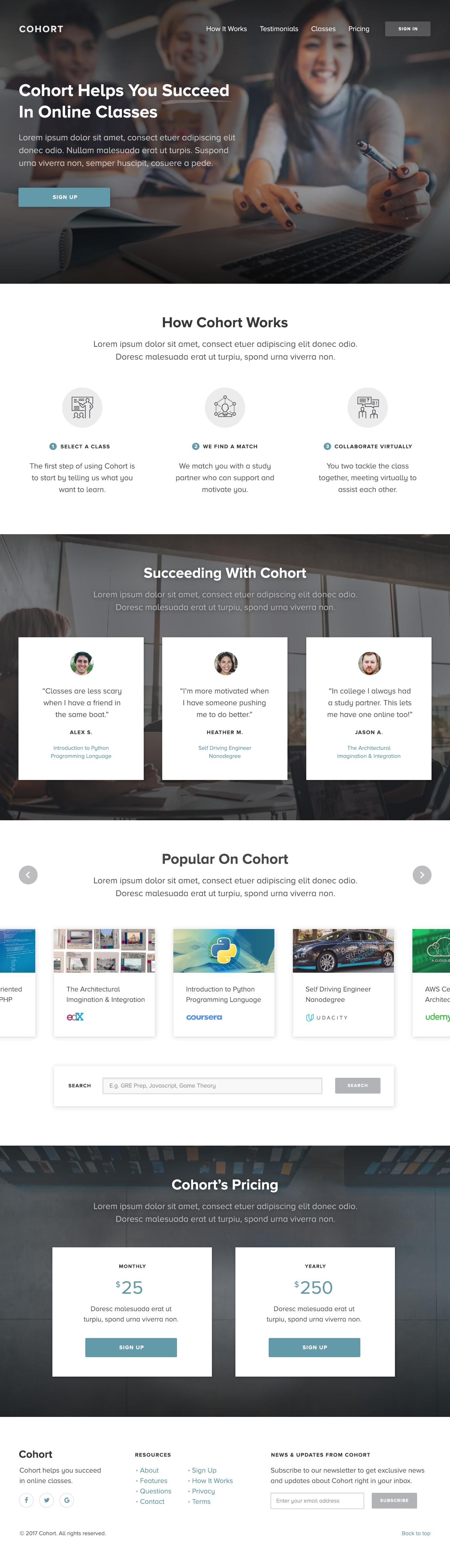 Cohort homepage