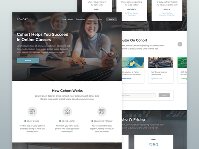 Cohort – Succeed in Online Classes typography clean ux ui online education classes study learning