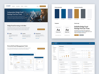 Stark Ratings – Branding, Website & Web App serif investing finance app identity design branding minimal clean typography dashboard ui web app app design