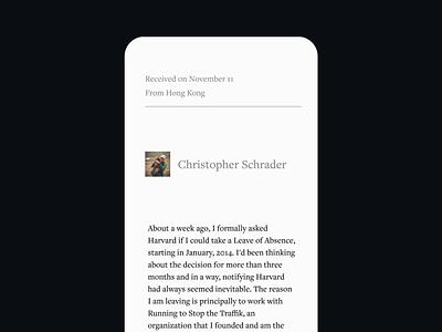 Closer — 100 exploration plaintext mood minimal freight brand figma inbox closer letter ui