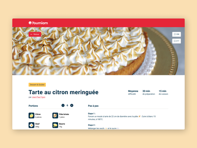 Youmiam - recipe website louise semendjan ux ui design redesign website youmiam ingredients recipe cooking food