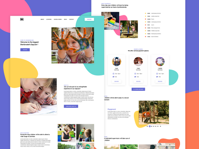 Daycare template activities colorful holiday play children webdesign ux ui accessibility landing daycare