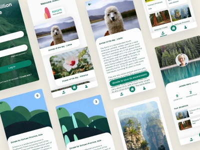 Plant a billion app webdesign concept design ui uxui ux app deforestation forest tree plant a billion