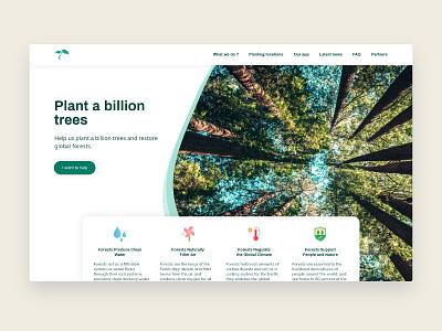 Plant a billion trees - desktop version webdesign ux landing concept planet uiux ui desktop design deforestation plant a billion trees plant forest tree ecology