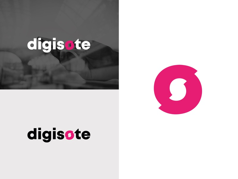 Digisote logotype sliced magenta s logo design branding identity vector logo