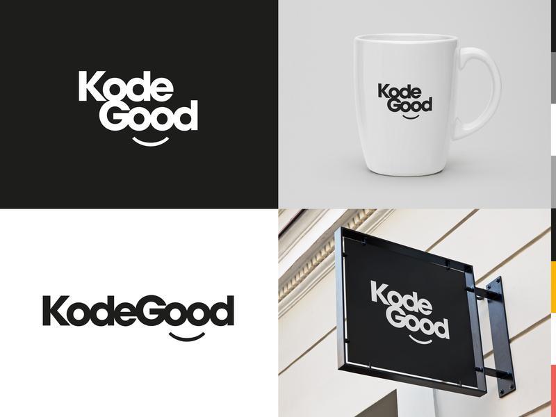 KodeGood – Logo for coding company clean logotype logomark mark design vector branding good smile modern simple logo