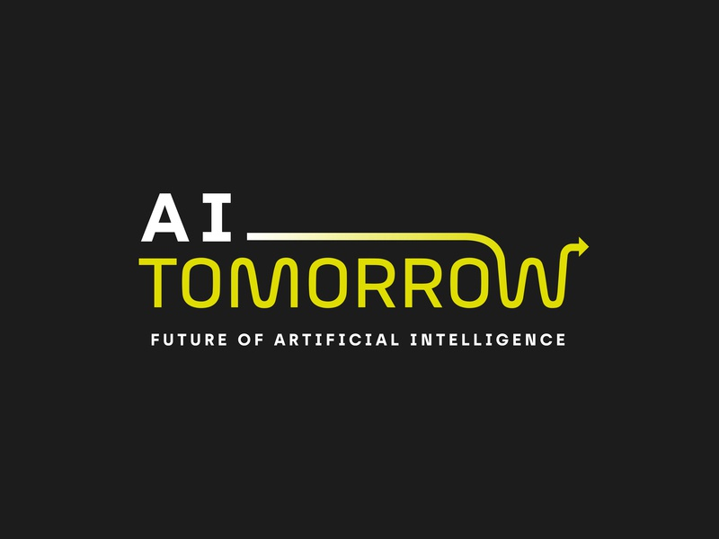 Ai Tomorrow arrow artificial intelligence future ai typographic logo typographic logo