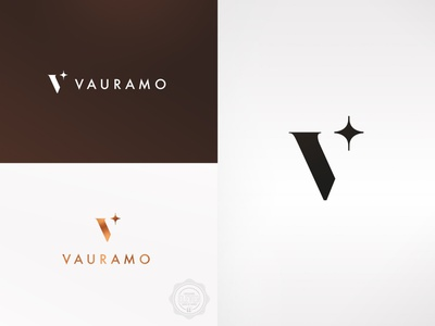 Vauramo high end simple branding corporate identity corporate design sparkle shine star rosegold copper foil stylish classy traditional broker realestate v logo logo