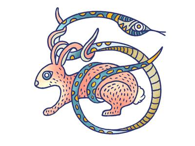 Snake and Rabbit procreate art procreateapp illustrator tattoo art tattoo design tattoo snake bunny rabbit procreate illustration