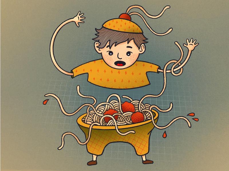 Spaghetti Steve carbs quarantine meatballs noodles spaghetti illustration illustrations character design procreate