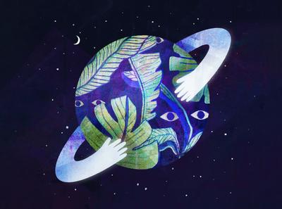 Space Hug galaxy space earth design procreate art texture pattern procreate procreateapp illustration