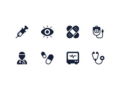 Medical Icons syringe eye blood pills doctor stethoscope ekg