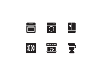 Household Appliances Glyphs household appliances kitchen coffee robot fridge