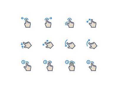 Gestures thumb click pinch swipe finger drag hand gesture