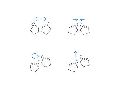 Gestures enlarge rotate expand zoom swipe move gesture