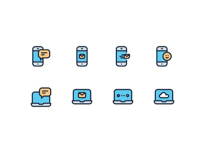 Communication Icons chat smile cloud notebook laptop computer message phone communication
