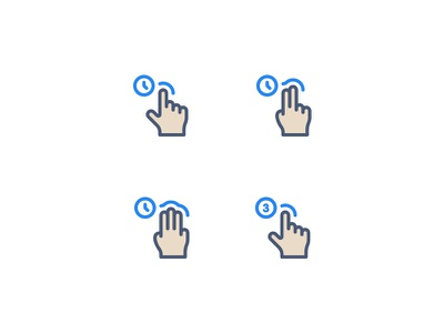Gestures Icons hand finger move swipe time icons gesture