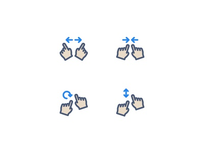 Gestures Icons zoom swipe rotate enlarge size finger hand icons gestures