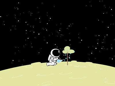 lonely astronaut Landspace branding design logo branding planet earth space planet vector illustration graphic design