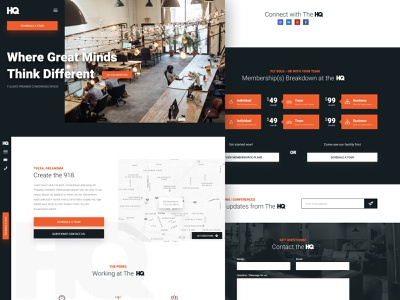 HQ - CoWorking branding design website design website