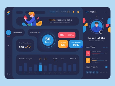 Dashboard Exploration mobile app explore popular design iksan uiuxdesigner darkmode dark color dashboard app dashboard school app invite illustration design debut invitation illustrator debutshot uiux uiuxdesign