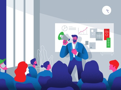 Broadcast Comunication coworking group hipster business character ui character concept design vector illustration flat