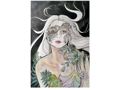 Forest Nymph девочка маска скетч графика мох папоротник лишайние эвкалипт растения лес природа нимфа девушка портретная иллюстрация дизайн illustration акварель portait