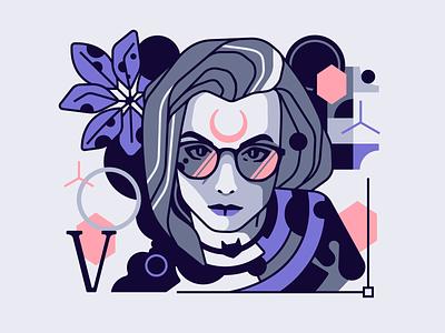 Portrait portrait girl vector design line simple character illustration stolz